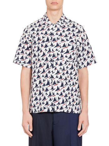 Marni Blue-white shirt in cotton Sail print Man