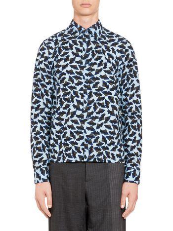 Marni Blue shirt in cotton Metropolis print Man
