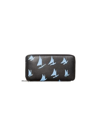Marni Zip wallet in black and pale blue leather Sail print Man