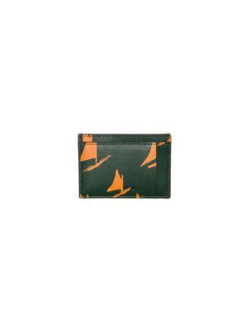 Marni Card case in black and orange leather Sail print Man