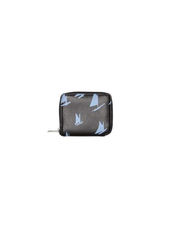 Marni Wallet in black and pale blue leather Sail print Man