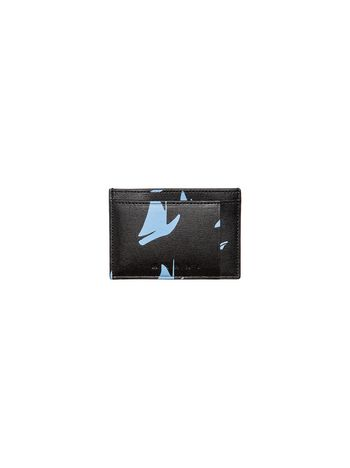 Marni Card case in black and pale blue leather Sail print Man