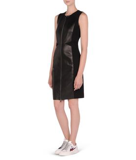 KARL LAGERFELD FITTED LEATHER & PUNTO DRESS