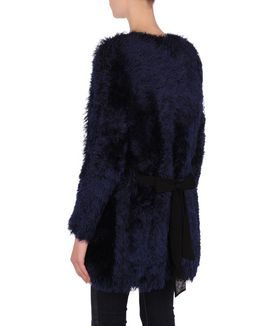 KARL LAGERFELD FURRY KNITTED CARDIGAN