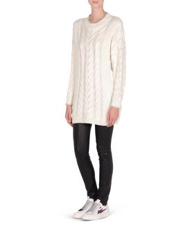 KARL LAGERFELD EMBELLISHED LONG CABLE SWEATER