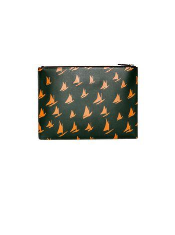 Marni Document case in orange leather Sail print Man