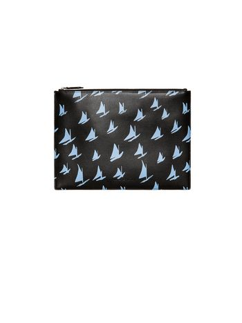 Marni Document case in blue leather Sail print Man