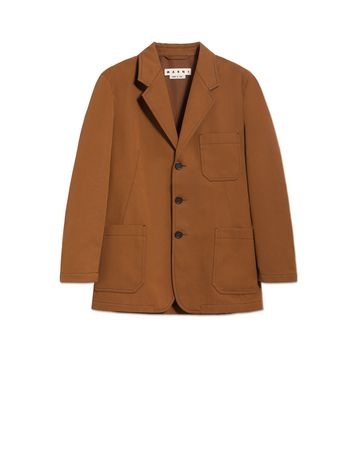 Three-button jacket in cotton drill and polyester