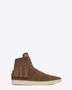 SAINT LAURENT High top sneakers U SIGNATURE COURT CLASSIC SL/18H Fringed SNEAKER IN Hazelnut Suede f
