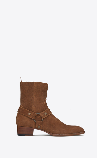 SAINT LAURENT Boots U classic wyatt 40 harness boot in nut suede a_V4