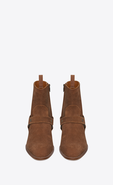 SAINT LAURENT Boots Man classic wyatt 40 harness boot in nut suede b_V4