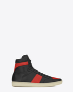 SIGNATURE COURT CLASSIC SL/10H HIGH TOP SNEAKER IN BLACK AND RED LEATHER
