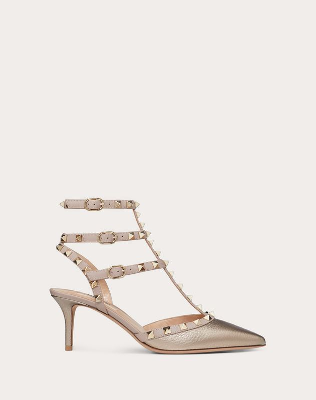 Metallic Grain calfskin leather Rockstud caged Pump 65mm
