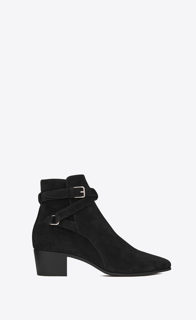 SAINT LAURENT Flat Booties D Signature BLAKE 40 Jodhpur Boot in Black Suede a_V4