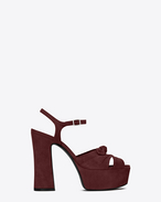 SAINT LAURENT Candy D CANDY 80 Bow Sandal in Burgundy Suede f