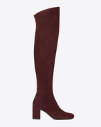 SAINT LAURENT Over-the-knee Boot D Cuissarde BB 70 en suède bordeaux f