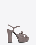 SAINT LAURENT Candy D CANDY 80 Bow Sandal in Fog Lizard Embossed Leather f