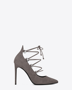 SAINT LAURENT High Heel Pump D Classic PARIS SKINNY 105 Lace-up Thorn Escarpin Pump in Dark Anthracite Suede f