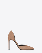SAINT LAURENT High Heel Court D Classic PARIS SKINNY 105 D'Orsay Pump in Beige Suede f