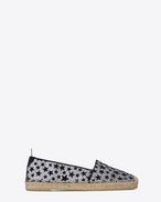 SAINT LAURENT Espadrille D ESPADRILLE in Silver Glitter Fabric and Black Velvet Stars f