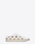 SAINT LAURENT Sneakers D Klassischer Signature Court SL/06 California Sneaker aus gebrochen weißem Leder und dunkel goldfarbenem Metallic-Leder f