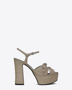 SAINT LAURENT Candy D CANDY 80 Bow Sandal in Pale Gold Woven Polyester and Cotton f