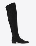 SAINT LAURENT Over-the-knee Boot D BB 20 Over-the-knee Fringed Boot in Black Suede f