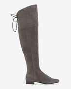 SAINT LAURENT Over-the-knee Boot D BB 20 kniehoher Stiefel aus dunkel anthrazitgrauem Veloursleder mit Fransen f