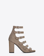 SAINT LAURENT Babies D BABIES 90 Multi Strap Sandal in Gold and Silver Woven Cotton and Metallic Polyester f