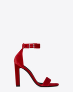 SAINT LAURENT Grace D GRACE 105 Ankle Strap Sandal in Red Velour f