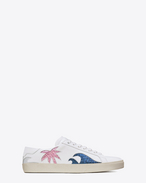 SAINT LAURENT Trainers D Signature COURT CLASSIC SL/06 Sea, Sex & Sun Sneaker in Off White, Silver Metallic Leather and Navy Blue, Vegas Pink and Brown Glitter Fabric f