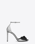 SAINT LAURENT Jane D Classic JANE 105 Bow Sandal in Silver Glitter Woven Polyester and Cotton and Black Grosgrain f