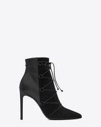 SAINT LAURENT Heel Booties D Classic PARIS 105 Lace-Up Ankle Boot in Black Suede and Leather f