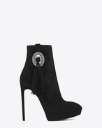 SAINT LAURENT Heel Booties D Classic JANIS 105 Concho Ankle Boot in Black Suede f