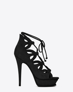 SAINT LAURENT Sandals D TRIBUTE SIXTEEN 105 Lace-Up Sandal in Black Suede f