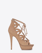 SAINT LAURENT Sandals D TRIBUTE SIXTEEN 105 Lace-Up Sandal in Beige Suede f