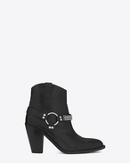 SAINT LAURENT Heel Booties D CURTIS 80 Chain Harness Ankle Boot in Black Leather f