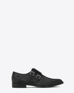 SAINT LAURENT Flat Booties D DYLAN 20 Monk Strap Shoe in Black Leather f