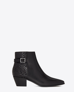 SAINT LAURENT Flat Booties D ROCK 40 Ankle Boot in Black Leather and Polyester and Cotton Glitter Fabric f