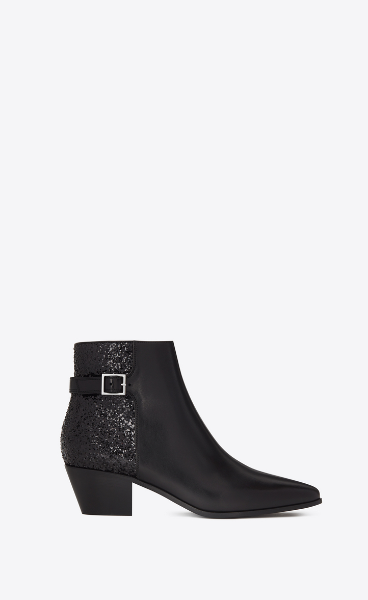 81d5905e96c54 Zoom  ROCK 40 Ankle Boot in Black Leather and Polyester and Cotton Glitter  Fabric