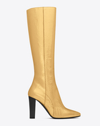 SAINT LAURENT Lily D LILY 95 Tall Boot in Gold Python Embossed Leather f