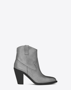 SAINT LAURENT Heel Booties D CURTIS 80 Western Ankle Boot in Dark Silver Metallic Suede f