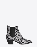 SAINT LAURENT Flat Booties D ROCK 40 Chelsea Boot in Silver Glitter fabric and Black Velvet Stars f