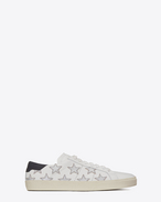 SAINT LAURENT Sneakers D SIGNATURE California SNEAKER IN WHITE LEATHER AND SILVER METALLIC LEATHER f