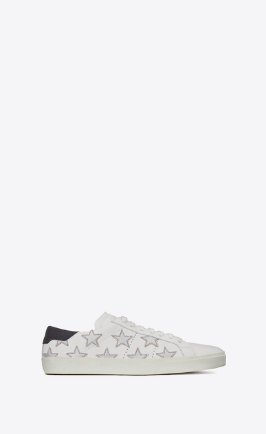 SAINT LAURENT Trainers D SIGNATURE California SNEAKER IN WHITE LEATHER AND SILVER METALLIC LEATHER a_V4