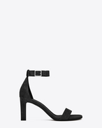 SAINT LAURENT Grace D GRACE 80 Ankle Strap Sandal in Black Suede f