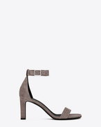 SAINT LAURENT Grace D GRACE 80 Ankle Strap Sandal in Fog Suede f