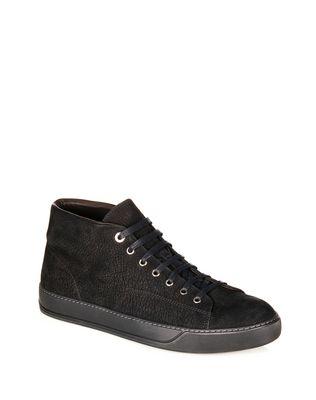 LANVIN NUBUCK CALFSKIN MID-TOP SNEAKER Sneakers U f