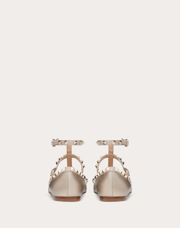 Metallic Grain calfskin leather Rockstud caged Ballet Flat