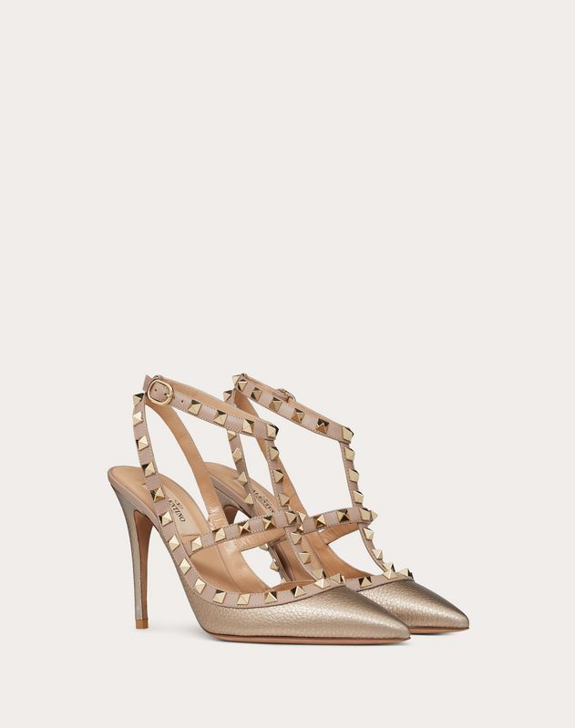Metallic Grain calfskin leather Rockstud caged Pump 100mm